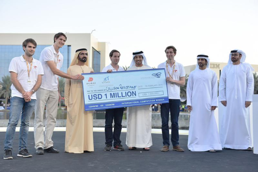 His Highness Mohammed bin Rashid Al Maktoum, Vice President and Prime Minister of the United Arab Emirates present the Drones for Good award to the winning team, the Switzerland-based Flyability.   Prime Minister's Office UAE