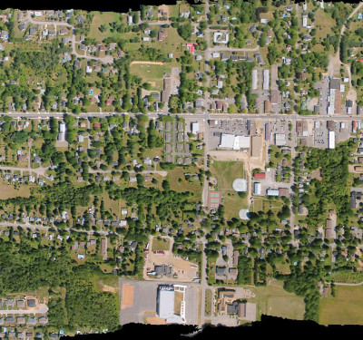 Orthorectified image of 27 individual images compiled and shot over Brunswick, Nova Scotia, Canada. Photo courtesy of Paul Illsley