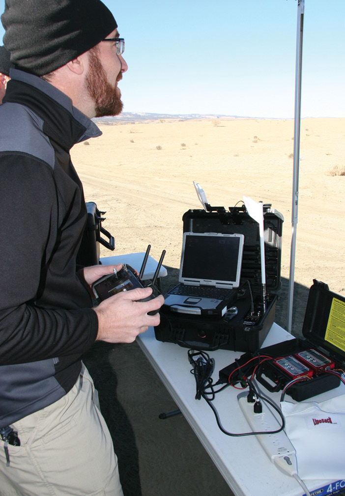 Mesa County Sherriff's Office Quartermaster Ben Miller at the command center. The department uses the Draganflyer X4-ES for accident and crime scene investigations.