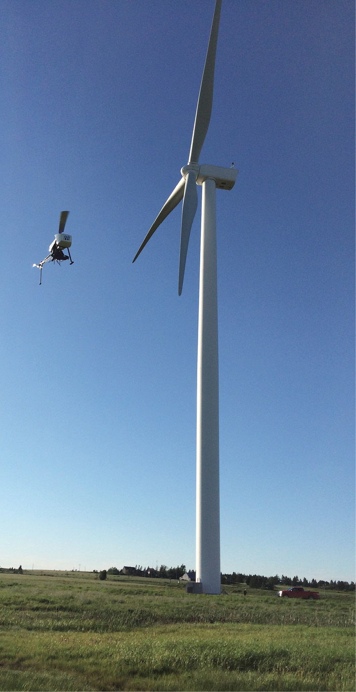 ING's Responder can be used for a variety of other applications. Here it's inspecting a wind turbine in Nova Scotia.