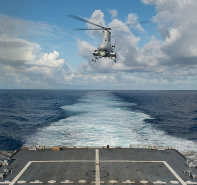 Fire Scout flight operations aboard littoral combat ship USS Fort Worth (LCS 3)