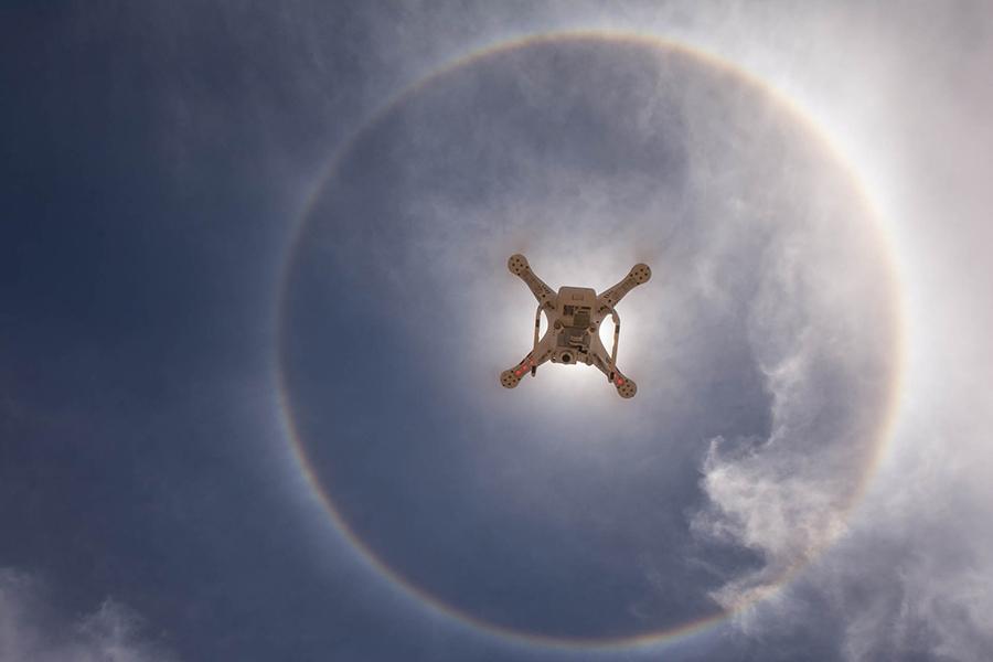 CAPTION: Photo: DJI Phantom 3 Standard captured in mid-air by Leon Jansen. DJI