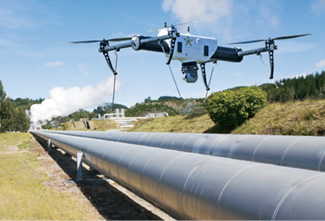 UAS flies over pipeline