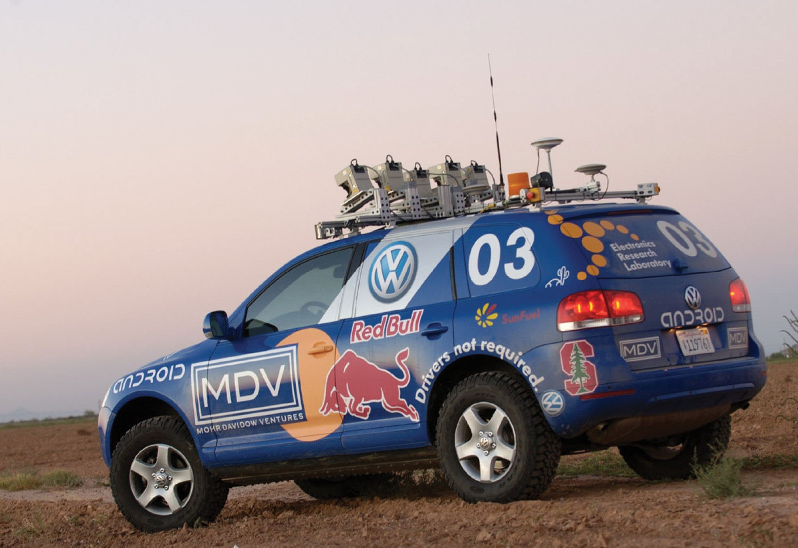 Stanley, an autonomous car developed by the Stanford University Racing Team, won the 2005 DARPA Grand Challenge after successfully traversing a 132-mile course. Photo courtesy of the Smithsonian Air & Space Museum.