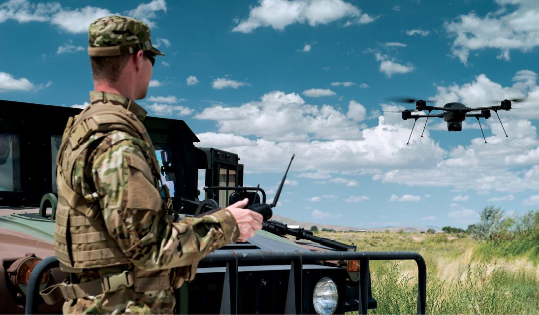 The Lockheed Martin Indago hovers near its operator. Lockheed Martin