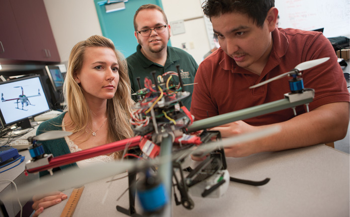 Students work with Dr. Richard Stansbury to prepare a UAS at Embry-Riddle's Daytona Beach campus.