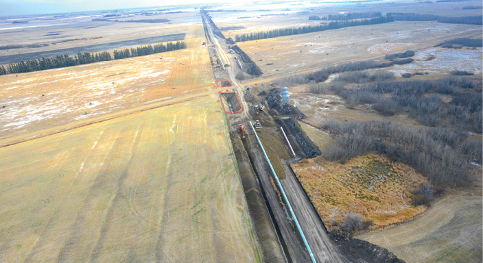 Aerial view from ING's Responder of pipeline implementation.