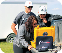 Researchers work with a PrecisionHawk.