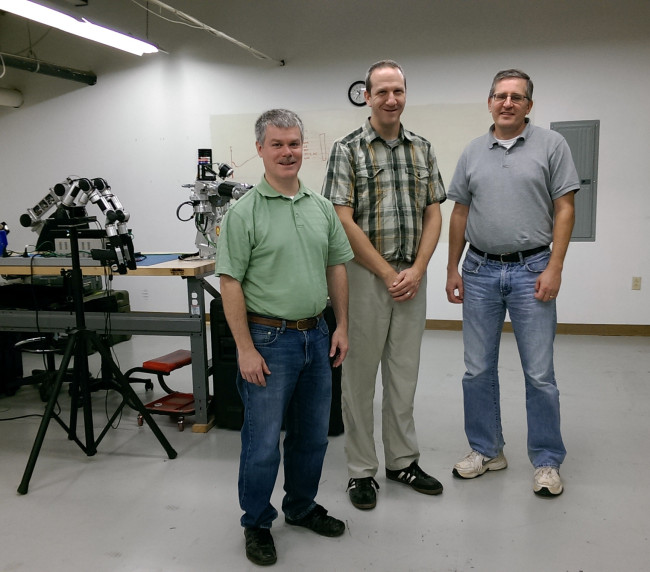 Jack Reinhart, Andy Mor and Jim Grebinoski make up the RE2 Robotics team working on this project with the University of Texas Arlington.