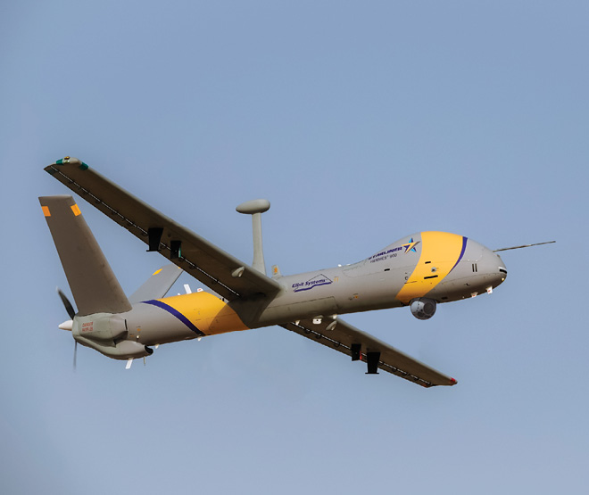 The Hermes 900 StarLiner was introduced at Farborourgh by Elbit Systems.