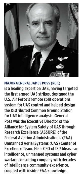 MAJOR GENERAL JAMES POSS (RET.) is a leading expert on UAS, having targeted the first armed UAS strikes, designed the U.S. Air Force's remote split operations system for UAS control and helped design the Distributed Common Ground Station for UAS intelligence analysis.