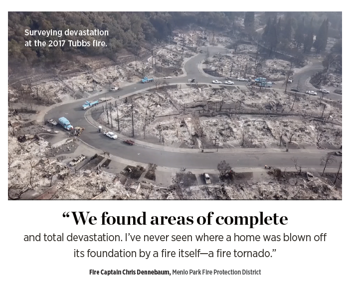 Surveying destruction at the 2017 Tubbs fire