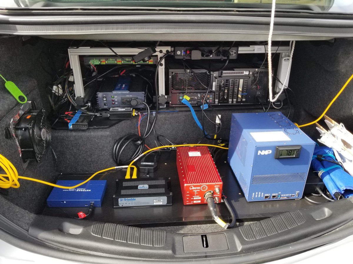 The vehicle's trunk is packed with sensor equipment. Photo courtesy VSI Labs.