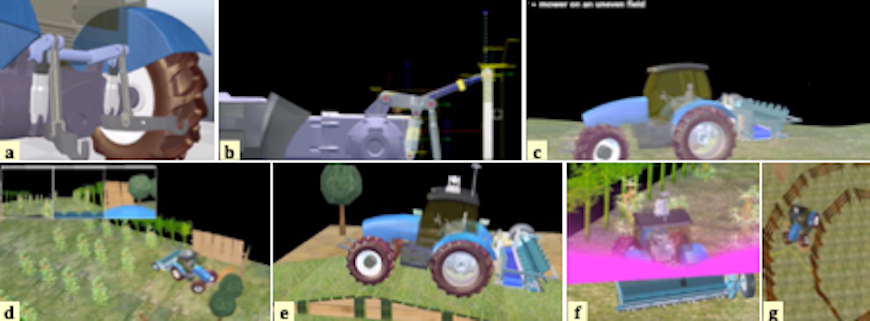 Figure 5 Different scenes of dynamic simulation studies: tractor, mower, orchard and obstacles.