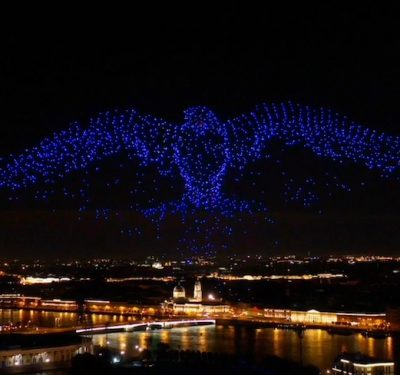 2,198 miniature UAVs was in the night sky over St. Petersburg, Russia