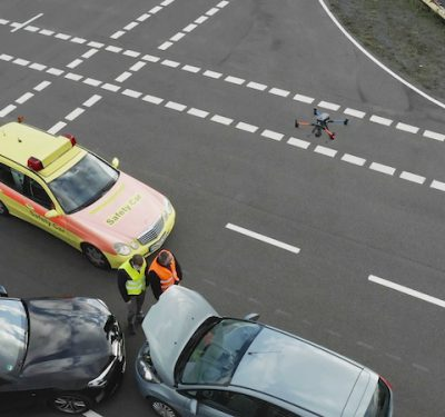 Drone responding to traffic accident