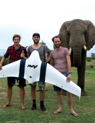 Avy old test drone  team in South Africa