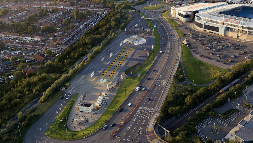 Visual representation of the Air-One® site with a Hyundai Motor Group eVTOL in the centre of Coventry. Image courtesy Urban Air Port Ltd.